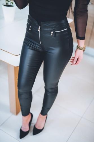 Z296 Woskowane spodnie damskie ZIP czarne rurki z zamkami rozmiar xs s m l xl