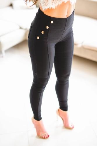 Z247 Eleganckie damskie spodnie czarne materiałowe rurki z guzikami rozmiar ml xlxxl