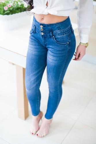 505e1baa7307 nowość. Z557 Dopasowane spodnie damskie z guzikami rozmiar xs s m l xl