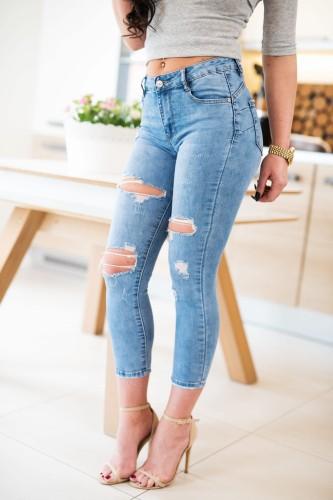 addb580e0536 nowość. Z523 Jeansowe spodnie damskie z dziurami nogawki 7 8 rozmiar xs s m  l xl
