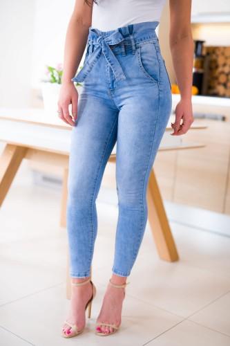 daf2a0ed Z478 Jasne spodnie damskie jeansowe skinny z paskiem rozmiar xs s m l xl