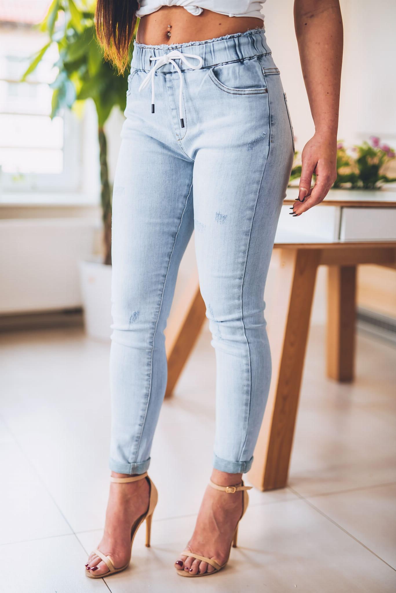 Z265 Jasne dżinsowe spodnie damskie z elastyczną gumą rozmiar xs s m l xl