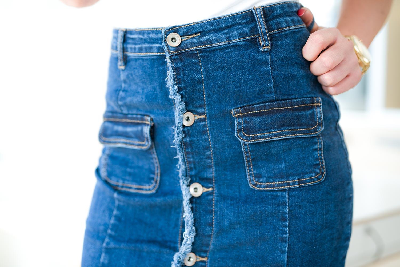 b6cca435 Z564 Dopasowana jeansowa spódnica damska z guzikami rozmiar xs s m l xl