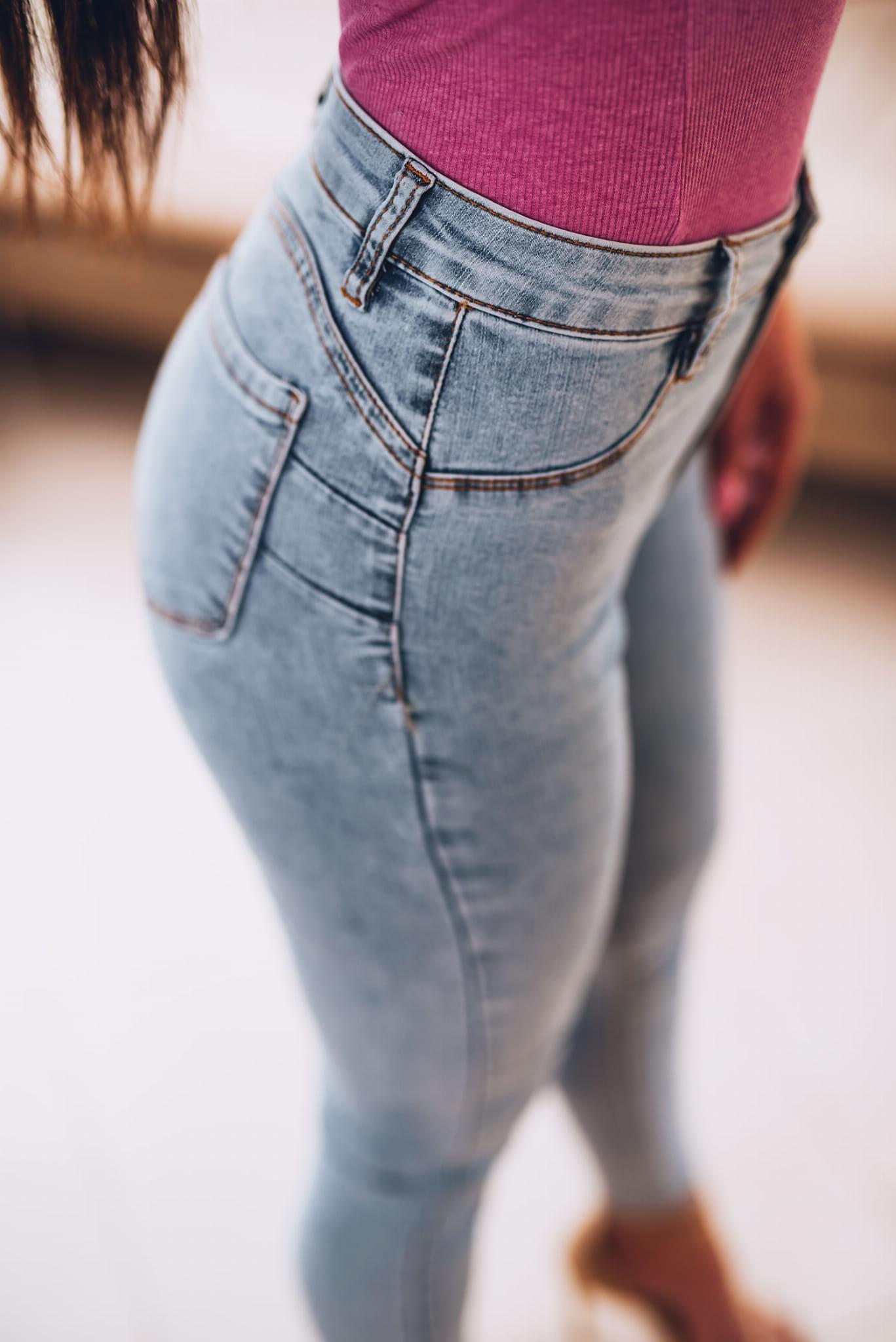 Z257 Elastyczne gładkie spodnie dżins z przeszyciem push up rozmiar xs s m l xl
