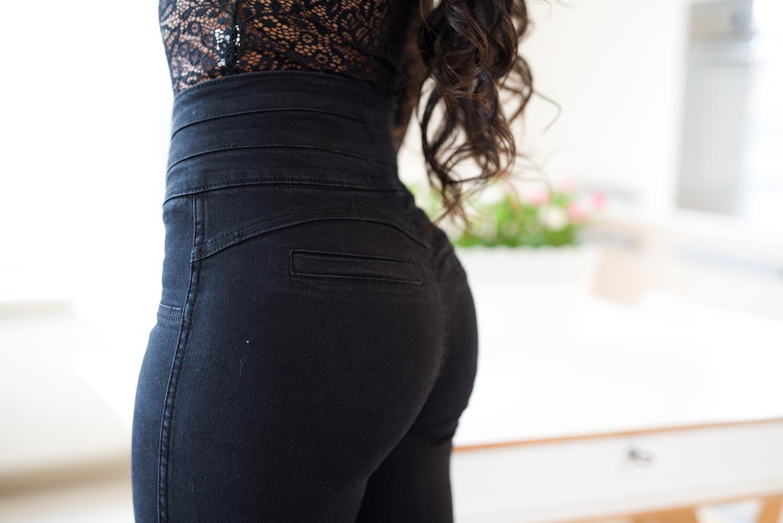Z596 Czarne dopasowane spodnie push up z wysokim stanem rozmiar xs s m l xl xxl 3xl