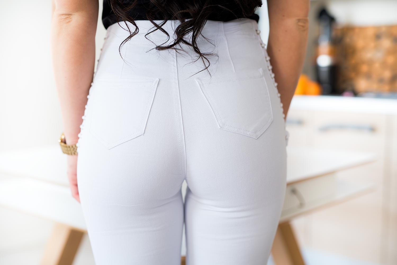 Z536 Białe spodnie damskie skinny z wiązaniem na boku rozmiar xs s m l xl